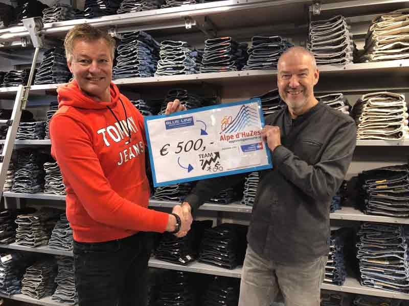 BLUE LINE doneert € 500,00 aan Alpe d'HuZes TEAM 7UP