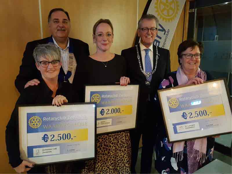 Rotary deelt Cheques uit